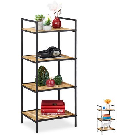 Relaxdays Standing Shelf Unit, 4 Tiers, Bamboo & Metal, Open Bookcase, Hallway, HxWxD: 95 x 39 x 32.5 cm, Brown-Black