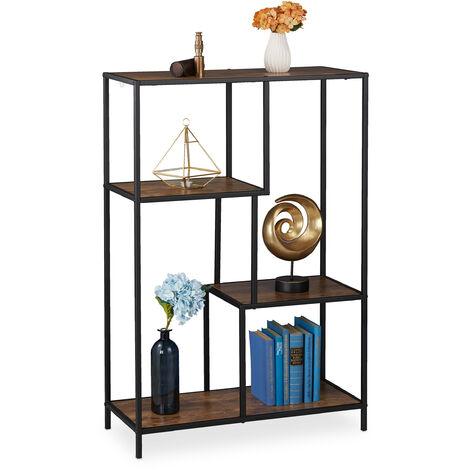 Relaxdays Standing Shelf Unit, Industrial Style, Open Design, Wooden Look, Metal, HDW 114.5 x 77 x 33 cm, Black/Brown