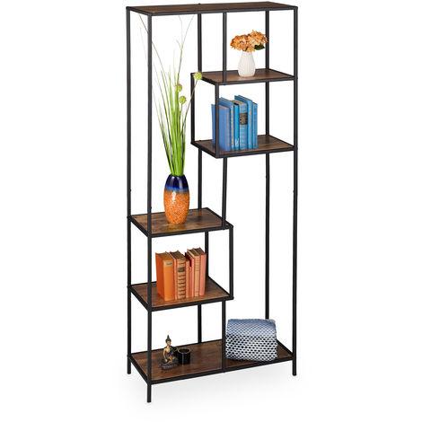 Relaxdays Standing Shelf Unit, Industrial Style, Open Design, Wooden Look, Metal, HDW 185 x 77 x 33 cm, Black/Brown