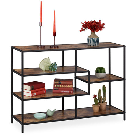 Relaxdays Standing Shelf Unit, Industrial Style, Open Design, Wooden Look, Metal, HDW 78.5 x 114 x 33 cm, Black/Brown