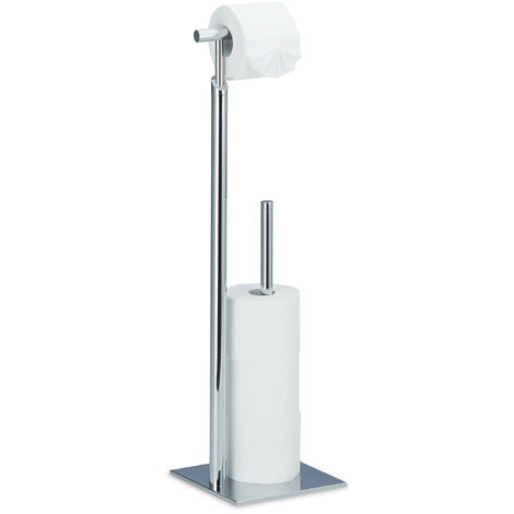Relaxdays Standing Toilet Paper Holder, Free-Standing Steel Roll Holder for 4 Spare Rolls TP, Chromed, 71 x 20 x 20 cm, Silver