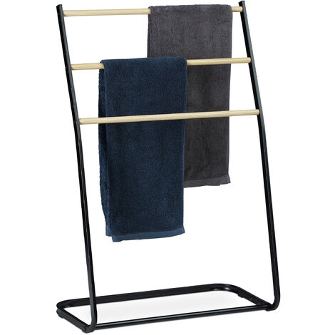 Relaxdays Standing Towel Holder, Metal, 3 Rails with Wooden Look, Clothes Valet, HxWxD 86x58x30 cm, Black