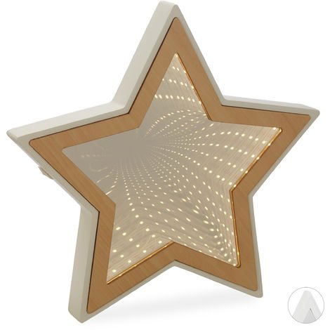 Relaxdays Star Infinity Mirror, LED Vanity Mirror, Mood- or Night Light, Battery-Operated, Natural