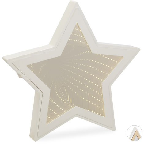 Relaxdays Star Infinity Mirror, LED Vanity Mirror, Mood- or Night Light, Battery-Operated, White