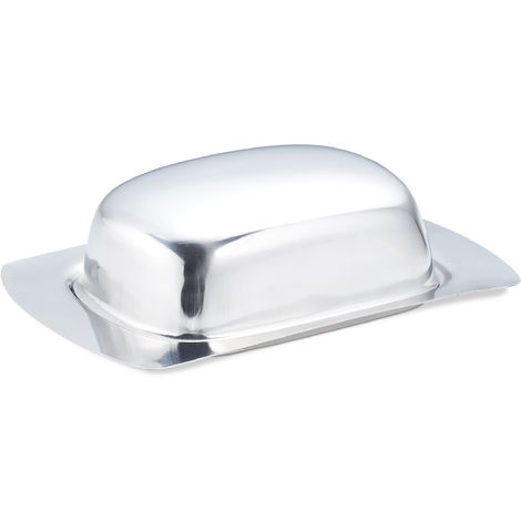 Relaxdays Steel Butter Dish, Tasteless Food Container, 250g Butter & Cheese, Dishwasher-Safe, Silver