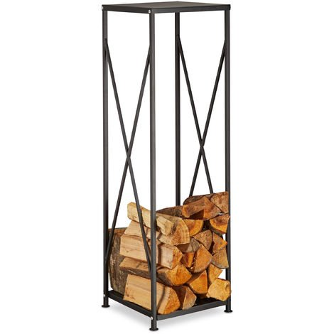 Relaxdays Steel Firewood Rack, Powder-Coated Log Holder, Wood Pile Storage HWD 111x34x34 cm, Black