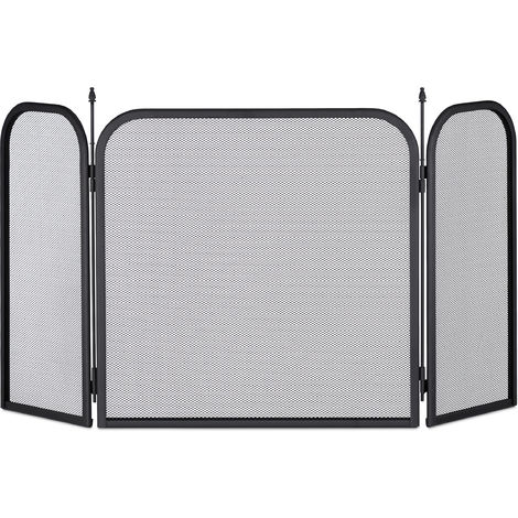 Relaxdays Steel Spark Guard, Three-Panel Fireplace Fender, Oven Screen, H x W 52.5 x 97 cm, Black