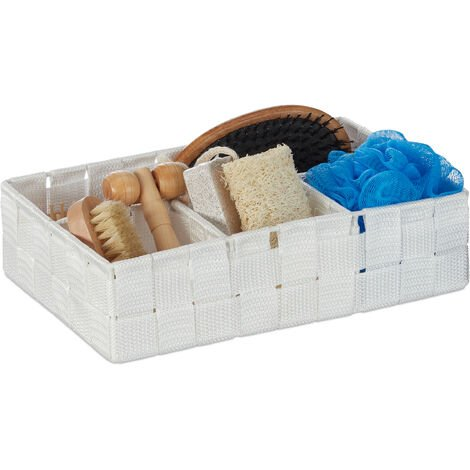 Relaxdays Storage Basket, 4 Compartments, Cosmetics Organiser for Bathroom, HWD 6.5x17.5x26 cm, White