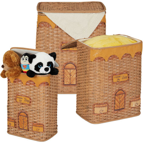 Relaxdays Storage Basket Set, Lidded, Handmade, Vintage Design, Toy Bix, Laundry, Rattan, Various Sizes & Colours
