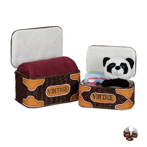 Relaxdays Storage Basket Set of 2, Lidded, Handmade, Vintage Design, Toy Bix, Laundry, Rattan, Brown