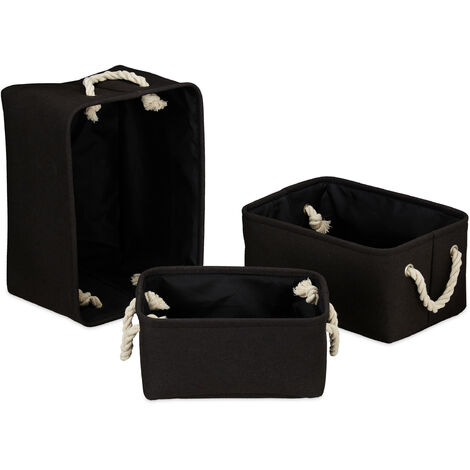 Relaxdays Storage Basket Set of 3, Handles, Shelving Bins in 3 Sizes, Rectangular, For Cabinets etc, Black