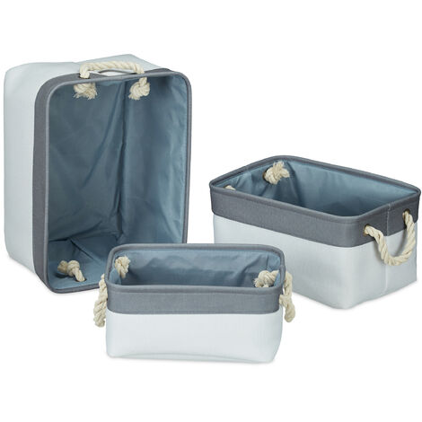 Relaxdays Storage Basket Set of 3, Handles, Shelving Bins in 3 Sizes, Rectangular, For Cabinets etc, White-Grey
