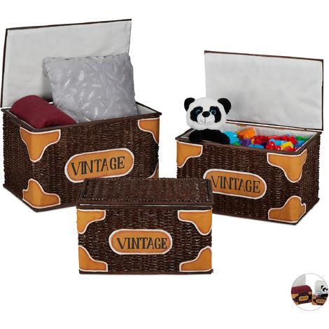 Relaxdays Storage Basket Set of 3, Lidded, Handmade, Vintage Design, Toy Bix, Laundry, Rattan, Brown