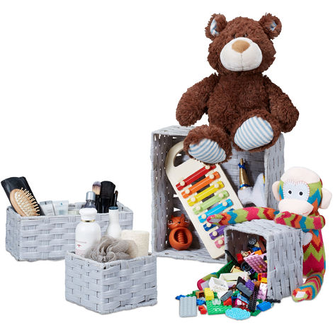 Relaxdays Storage Basket Set of 4, Wicker Look, Stackable Organiser Bins, PP & Plastic Boxes, Various Sizes, Grey