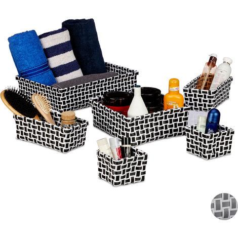 Relaxdays Storage Basket Set of 6, Wicker Look, Organiser Bins, Stackable Plastic Organiser Boxes, White/Black