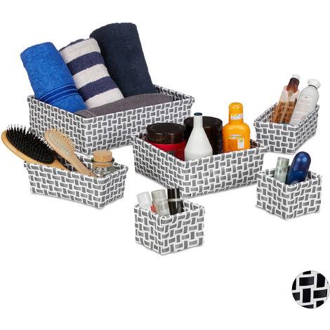 Relaxdays Storage Basket Set of 6, Wicker Look, Organiser Bins, Stackable Plastic Organiser Boxes, White/Grey