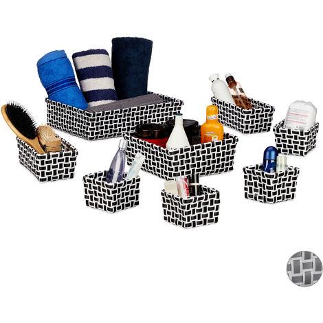 Relaxdays Storage Basket Set of 8, Wicker Look, Organiser Bins, Stackable Plastic Organiser Boxes, White/Black