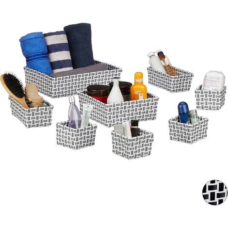Relaxdays Storage Basket Set of 8, Wicker Look, Organiser Bins, Stackable Plastic Organiser Boxes, White/Grey