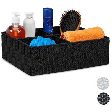 Relaxdays Storage Basket with 4 Compartments, Bathroom Cosmetics Bin, Box, HWD: 10x32x27 cm, Black