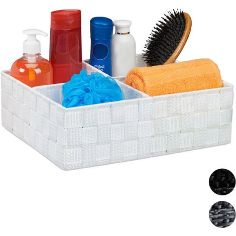 Relaxdays Storage Basket with 4 Compartments, Bathroom Cosmetics Bin, Box, HWD: 10x32x27 cm, White