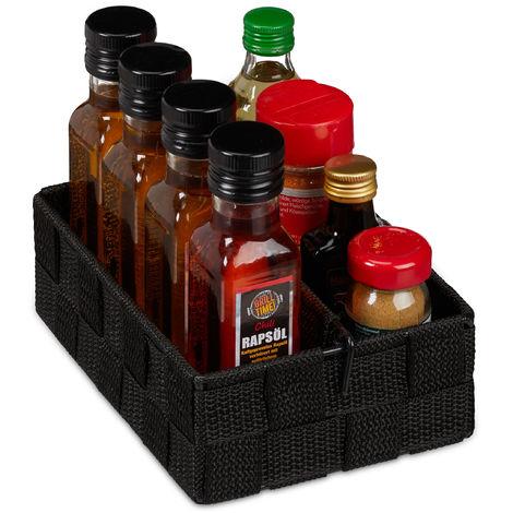 Relaxdays Storage Basket with Adjustable Divider Panel, Versatile Shelf Bin, 6.5 x 19 x 13 cm, Black