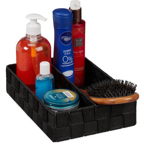 Relaxdays Storage Basket with Adjustable Divider Panel, Versatile Shelf Bin, 6.5 x 27 x 18 cm, Black