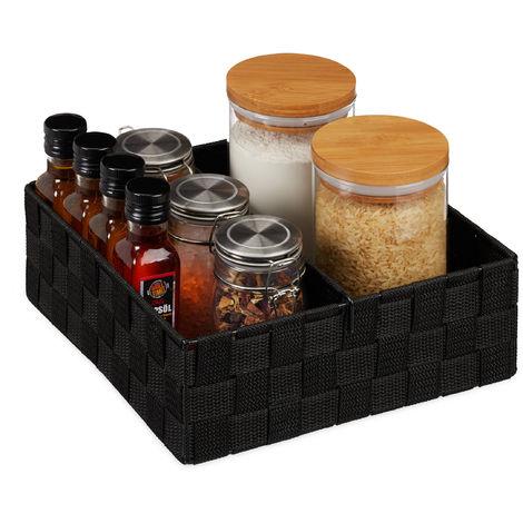 Relaxdays Storage Basket with Adjustable Divider Panel, Versatile Shelf Bin, 9.5 x 26.5 x 26 cm, Black