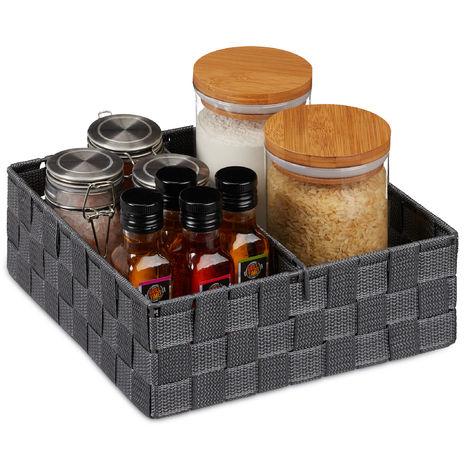 Relaxdays Storage Basket with Adjustable Divider Panel, Versatile Shelf Bin, 9.5 x 26.5 x 26 cm, Grey