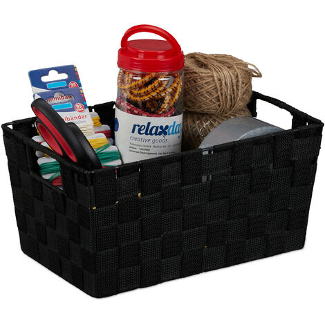 Relaxdays Storage Basket with Handles, Versatile Shelf & Cabinet Bin, Plastic, 15.5x31x20.5 cm, Black