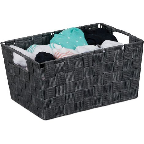 Relaxdays Storage Basket with Handles, Versatile Shelf & Cabinet Bin, Plastic, 15.5x31x20.5 cm, Grey