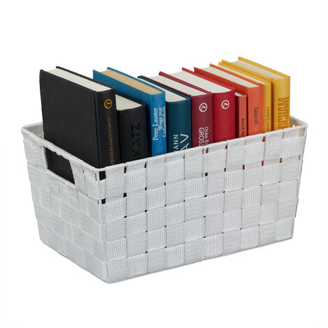 Relaxdays Storage Basket with Handles, Versatile Shelf & Cabinet Bin, Plastic, 15.5x31x20.5 cm, White