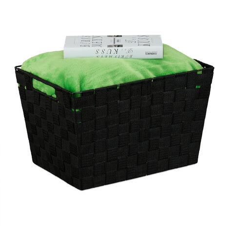 Relaxdays Storage Basket with Handles, Versatile Shelf & Cabinet Bin, Plastic, 22x35x25.5 cm, Black