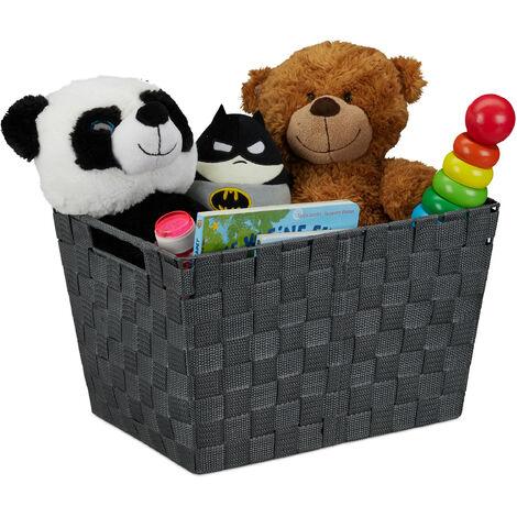 Relaxdays Storage Basket with Handles, Versatile Shelf & Cabinet Bin, Plastic, 22x35x25.5 cm, Grey