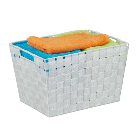 Relaxdays Storage Basket with Handles, Versatile Shelf & Cabinet Bin, Plastic, 22x35x25.5 cm, White
