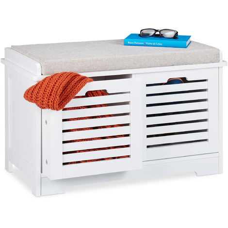 Relaxdays Storage Bench, 2 Drawers, Soft Cushion, Hallway Furniture, Shoe Storage Baskets, HxWxD 44 x 72 x 35cm, White