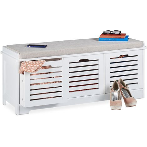 Relaxdays Storage Bench, 3 Drawers, Soft Seat Cushion, Hallway Furniture, Shoe Storage Baskets, HxWxD 44x105x35cm, White