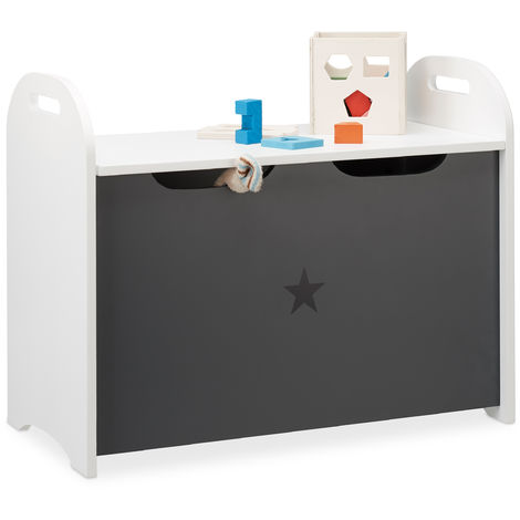 Relaxdays Storage Bench for Children, Storage Chest with Lid, HWD 47x57x30 cm, Star Motif, White-Grey
