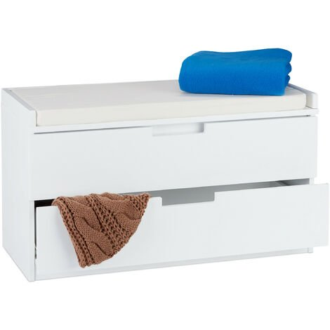 Relaxdays Storage Bench For Sitting, Cabinet With 2 Drawers, Country Look, Padded Seating, HWD 45 x 80 x 36 cm, White