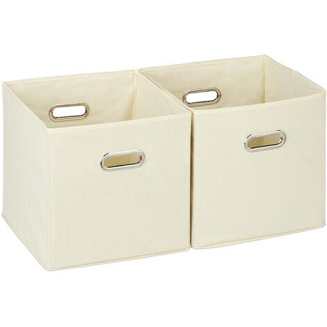 Relaxdays Storage Box Set of 2, No Lids, With Handles, Folding, Square Shelf Bins, 30 cm, Beige