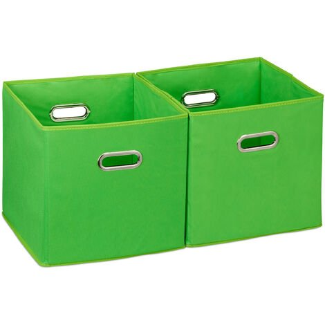 Relaxdays Storage Box Set of 2, No Lids, With Handles, Folding, Square Shelf Bins, 30 cm, Green