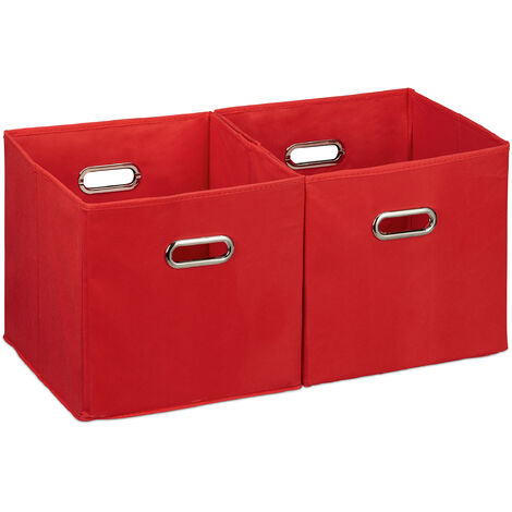 Relaxdays Storage Box Set of 2, No Lids, With Handles, Folding, Square Shelf Bins, 30 cm, Red