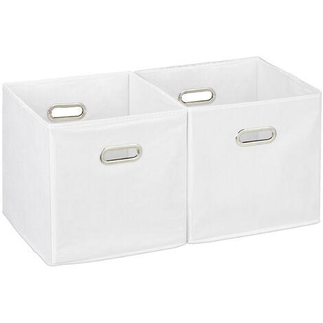 Relaxdays Storage Box Set of 2, No Lids, With Handles, Folding, Square Shelf Bins, 30 cm, White