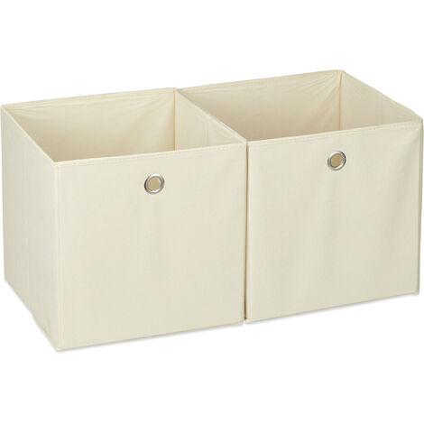 Relaxdays Storage Box Set of 2, Square, Shelf Storage Basket, Square Bins 30x30x30 cm, Beige