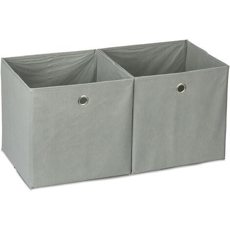 Relaxdays Storage Box Set of 2, Square, Shelf Storage Basket, Square Bins 30x30x30 cm, Grey