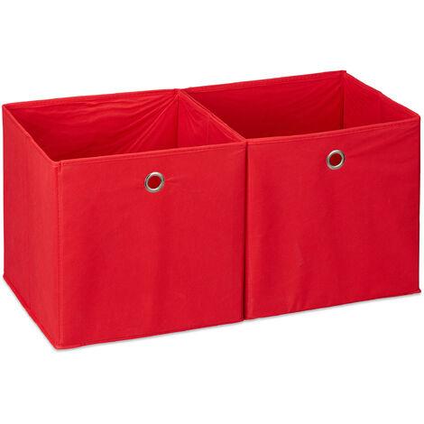 Relaxdays Storage Box Set of 2, Square, Shelf Storage Basket, Square Bins 30x30x30 cm, Red