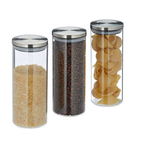 Relaxdays Storage Jars Set of 3, 1.5 L, Airtight, Stainless Steel Lids, Food Containers, Pasta, Rice, Transparent