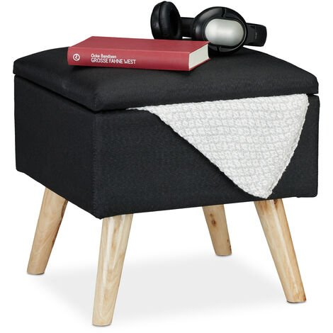 Relaxdays Storage Ottoman, Faux Linen Cover, Padded, Wooden Legs, Lidded Seat, HWD 40x40x40 cm, Black