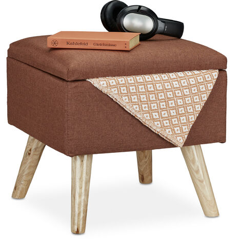 Relaxdays Storage Ottoman, Faux Linen Cover, Padded, Wooden Legs, Lidded Seat, HWD 40x40x40 cm, Brown
