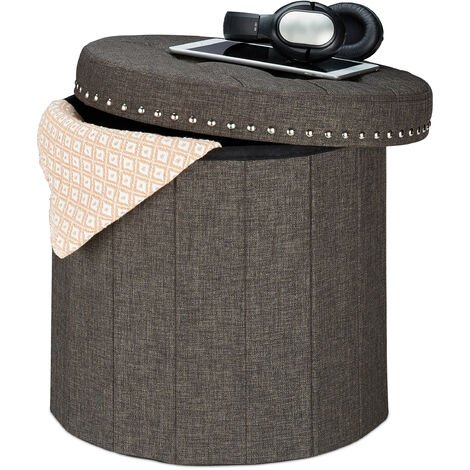 Relaxdays Storage Ottoman, Foldable, Soft Padding, Quilted, Fabric, Round Seat, HxD 43 x 46 cm, Brown
