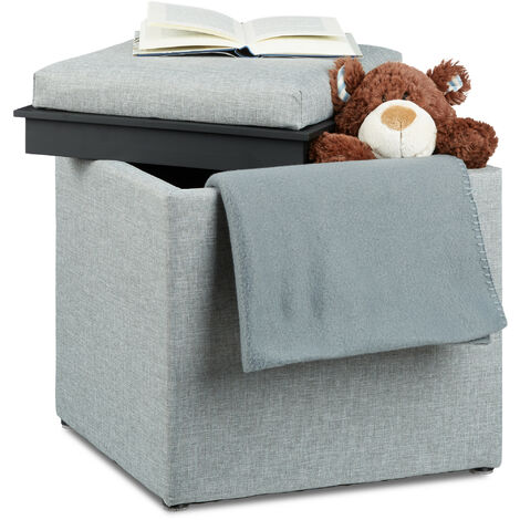 Relaxdays Storage Ottoman, HxWxD: 42 x 40.5 x 40.5 cm, Storage Box, Footrest w/ Tray, Footstool Pouffe, Fabric Look, Grey